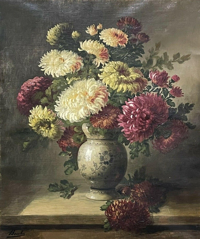 FINE 19TH CENTURY FRENCH STILL LIFE FLOWERS IN ORNAMENTAL VASE - SIGNED OIL  - Painting by Unknown