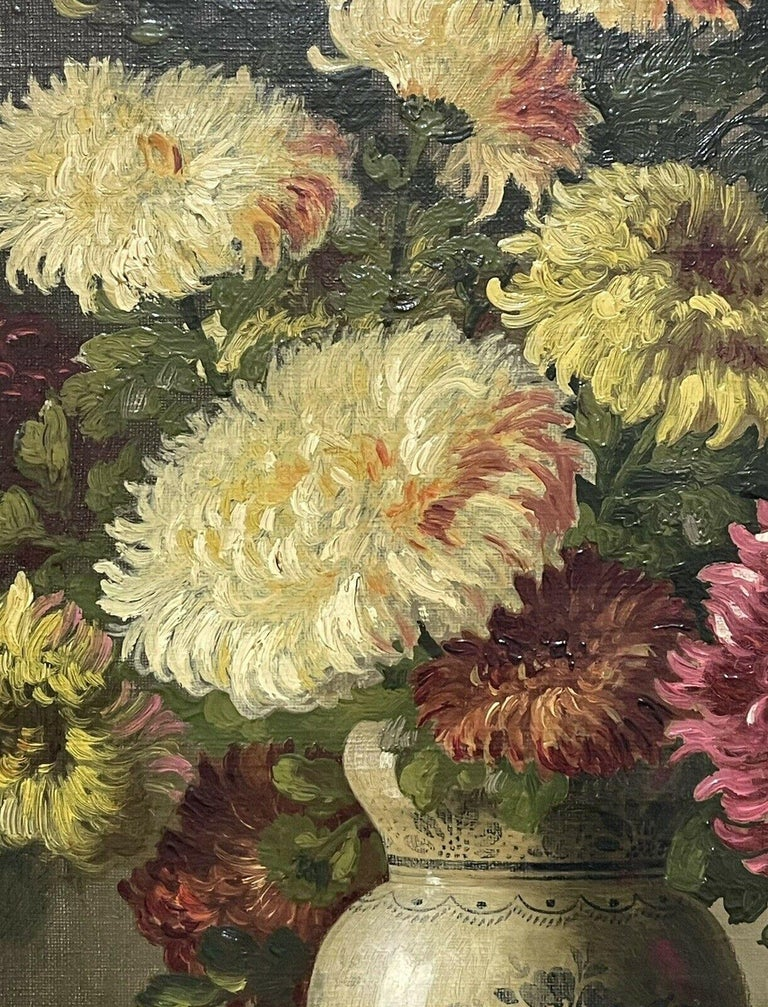 FINE 19TH CENTURY FRENCH STILL LIFE FLOWERS IN ORNAMENTAL VASE - SIGNED OIL  - Victorian Painting by Unknown