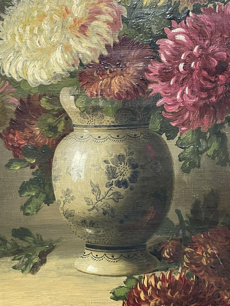 FINE 19TH CENTURY FRENCH STILL LIFE FLOWERS IN ORNAMENTAL VASE - SIGNED OIL  - Brown Still-Life Painting by Unknown