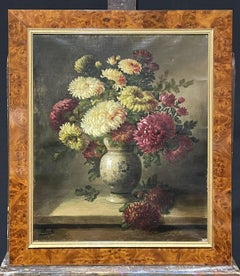 FINE 19TH CENTURY FRENCH STILL LIFE FLOWERS IN ORNAMENTAL VASE - SIGNED OIL