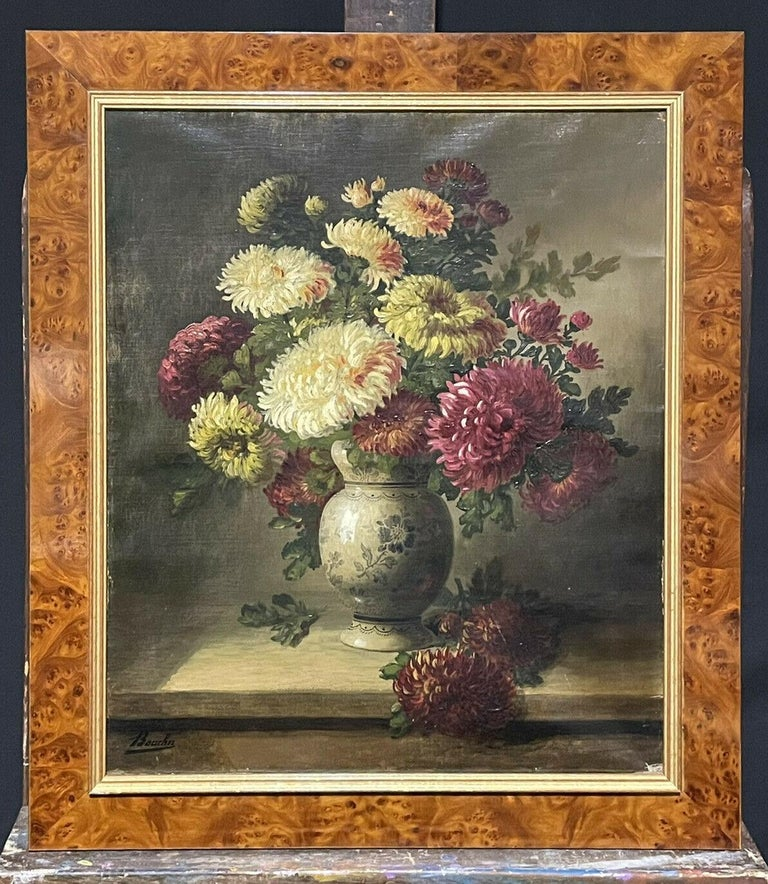 Unknown Still-Life Painting - FINE 19TH CENTURY FRENCH STILL LIFE FLOWERS IN ORNAMENTAL VASE - SIGNED OIL
