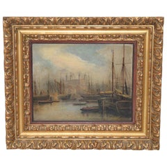 Fine 19th Century Nautical View of the River Thames, London Oil Painting