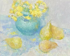 Fine 20th century European Signed Oil-Still life Yellow Flowers Vase & Pears