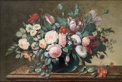 FINE C.1800'S ENGLISH OLD MASTER STILL LIFE FLOWERS - LARGE OIL PAINTING FRAMED