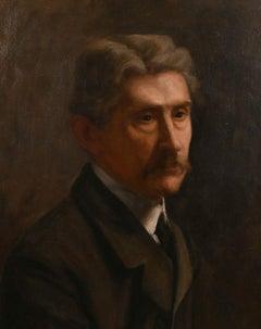 FINE C.1900'S BRITISH SCHOOL PORTRAIT OF PENSIVE MAN WITH MOUSTACHE - LARGE OIL