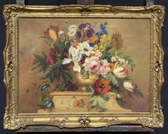 FINE ENGLISH CLASSICAL STILL LIFE OIL PAINTING - ORNATE FLOWERS IN VASE/ PLINTH