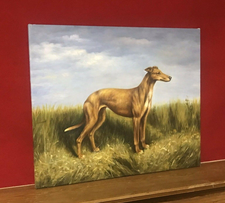 FINE ENGLISH DOG PAINTING - LURCHER STANDING PROUDLY IN LANDSCAPE - Painting by Unknown
