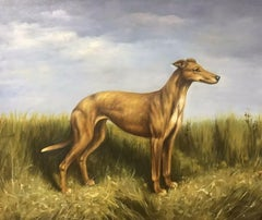 FINE ENGLISH DOG PAINTING - LURCHER STANDING PROUDLY IN LANDSCAPE