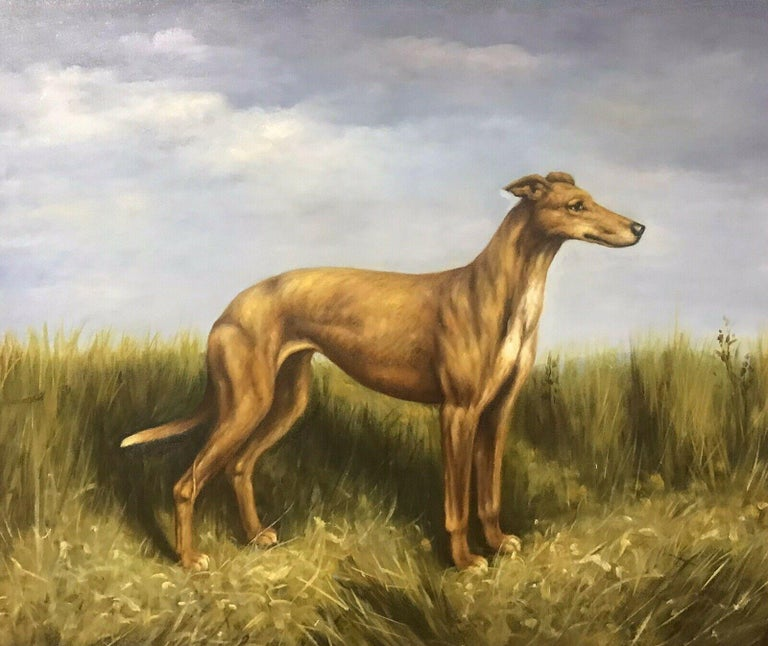 Unknown Figurative Painting - FINE ENGLISH DOG PAINTING - LURCHER STANDING PROUDLY IN LANDSCAPE