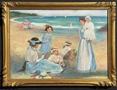 FINE FRENCH SIGNED OIL - ELEGANT FAMILY ENJOYING DAY ON THE BEACH - GILT FRAMED