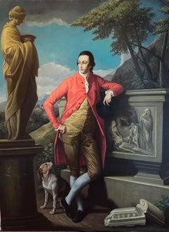 Fine Large Painting Aristocratic Portrait of 18thC Grand Tour Aristocratic Gent
