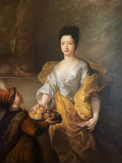 Fine Large Scale Oil - Aristocratic Portrait of 18th Century Lady with Peaches