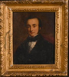 FINE MID 19TH CENTURY VICTORIAN OIL PAINTING - PORTRAIT OF GENTLEMAN -GILT FRAME