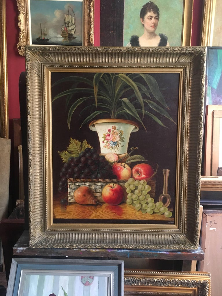 Fine Still Life Fruit Antique English Oil Painting  - Black Still-Life Painting by Unknown