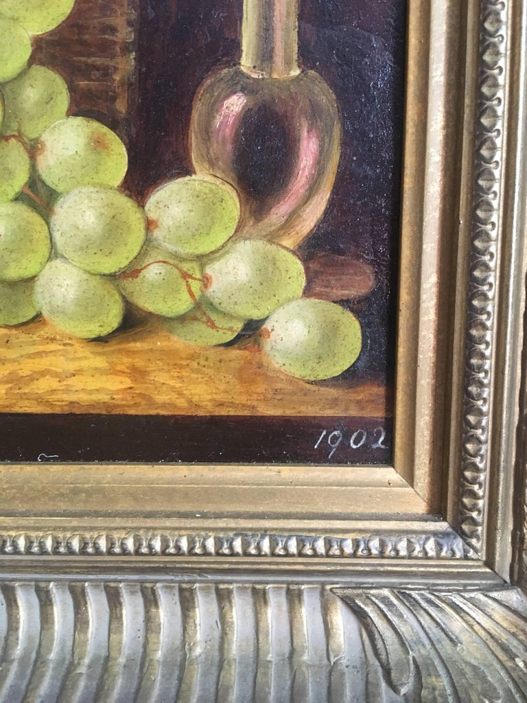 Fine Still Life Fruit Antique English Oil Painting  For Sale 1