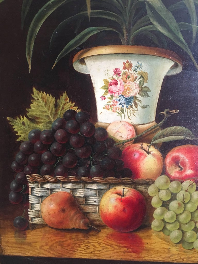 Fine Still Life Fruit Antique English Oil Painting  For Sale 2
