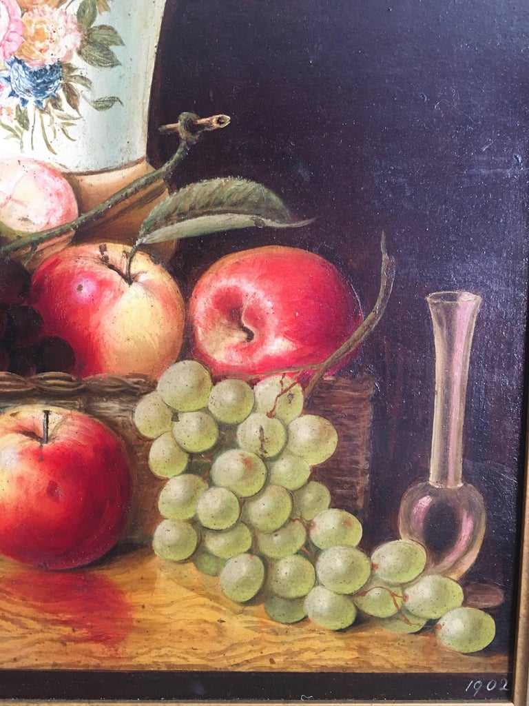 Fine Still Life Fruit Antique English Oil Painting  For Sale 3