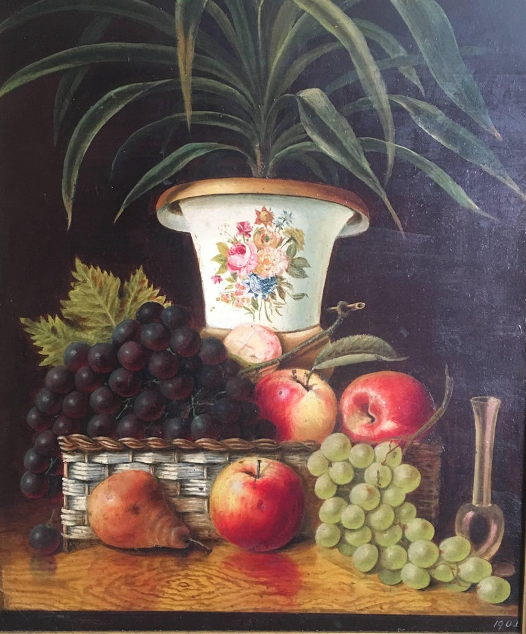 Unknown Still-Life Painting - Fine Still Life Fruit Antique English Oil Painting