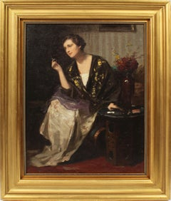 Finely Painted Interior View Woman Smoking Elegant Antique Portrait Oil Painting
