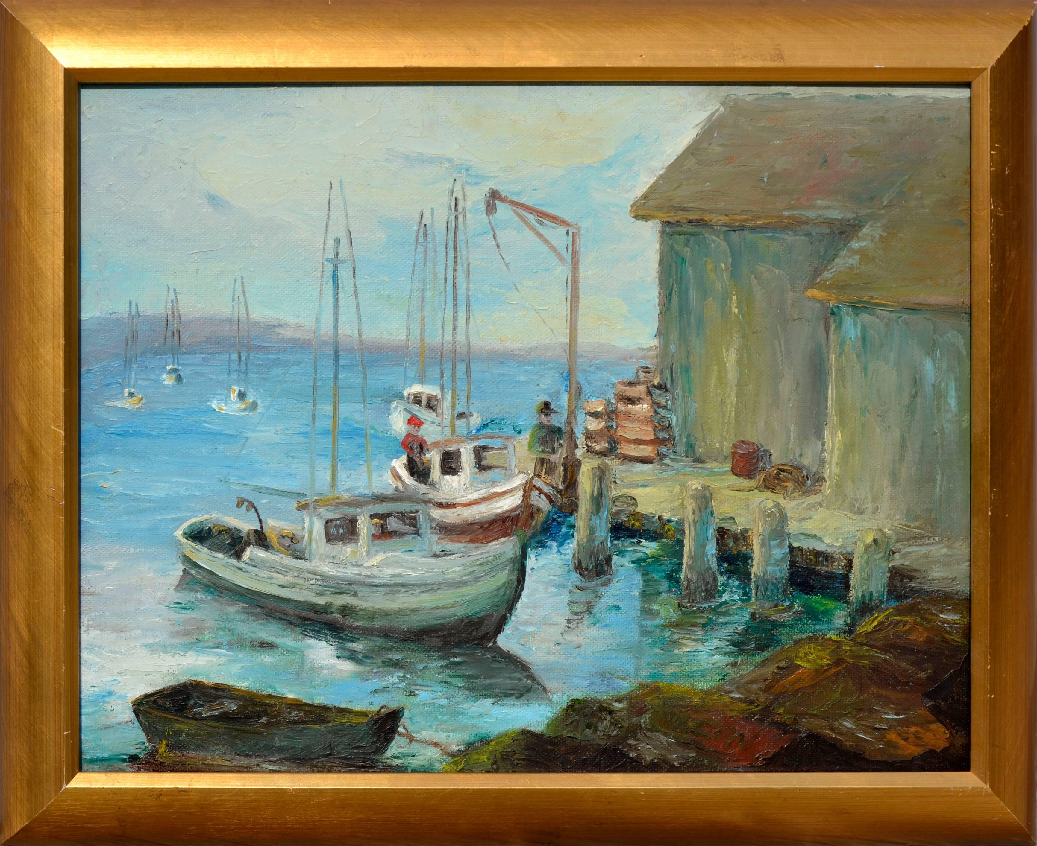 Fishermen at the Dock, Monterey - Mid Century Figurative Landscape