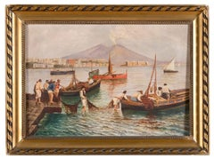 Fishermen on the Seashore - Oil on Canvas by Neapolitan Master Early 1900