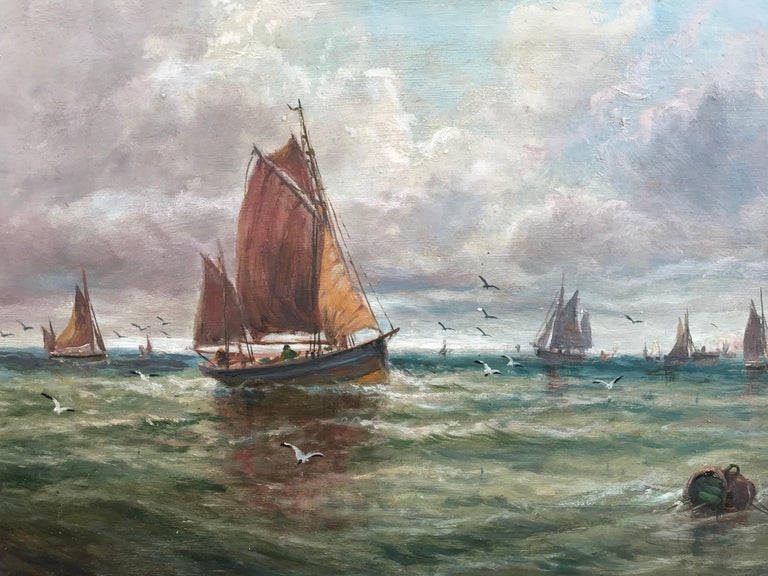 Fishing Boats Near the Shore (Antique Maritime Painting) - Brown Landscape Painting by Unknown