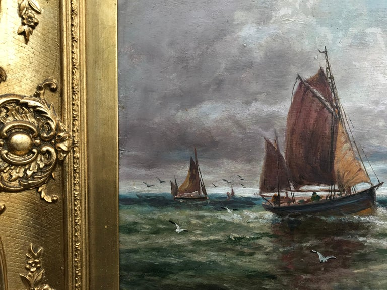 Fishing Boats Near the Shore (Antique Maritime Painting) For Sale 1