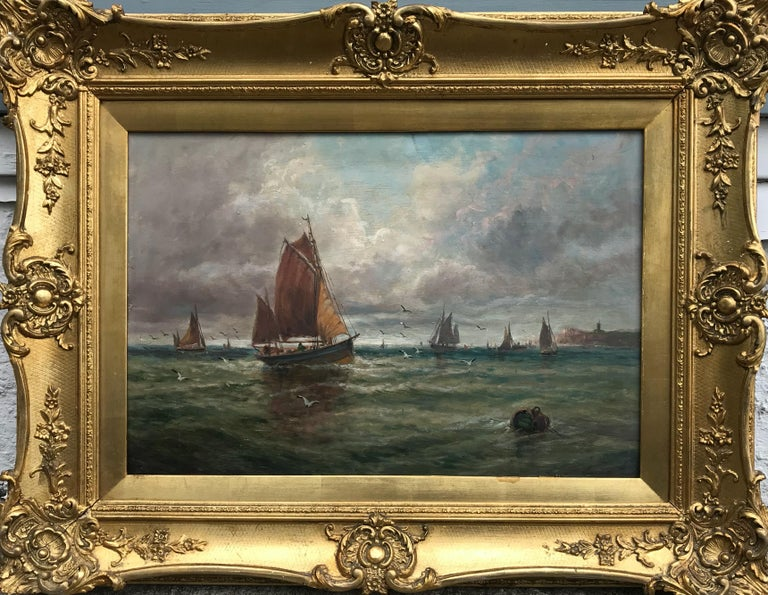 Unknown Landscape Painting - Fishing Boats Near the Shore (Antique Maritime Painting)