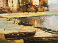 'Fishing Boats on the Beach', Impressionist Oil, Charles Durand-Ruel, Paris