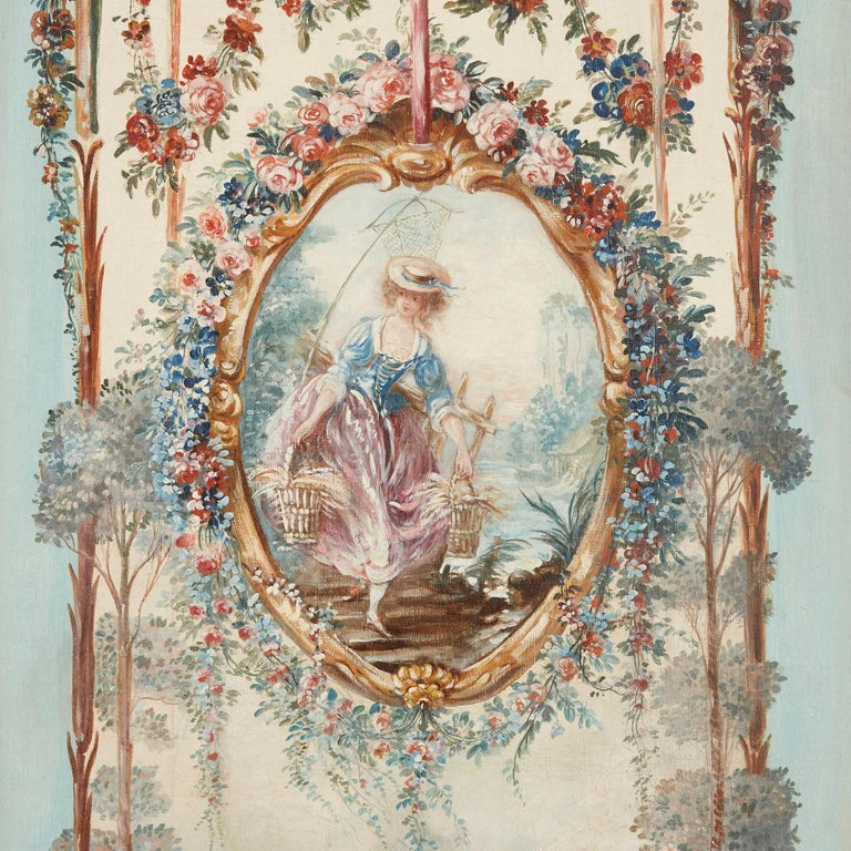 Five wall paintings in the manner of de Clermont and Fragonard For Sale 5