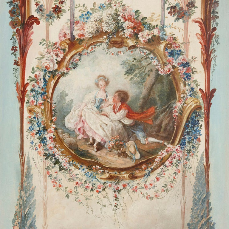 Five wall paintings in the manner of de Clermont and Fragonard For Sale 6