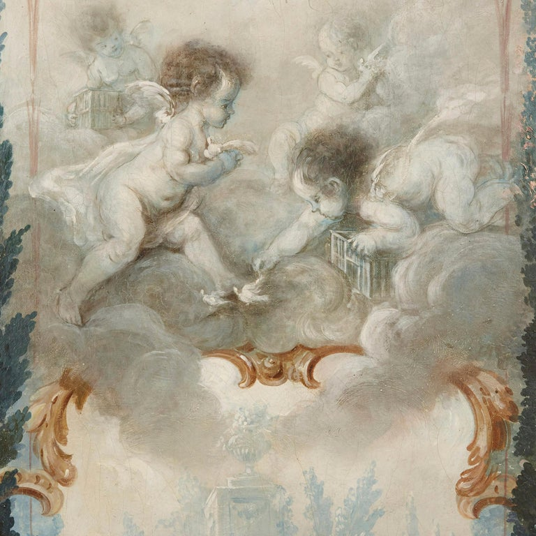 Five wall paintings in the manner of de Clermont and Fragonard For Sale 7