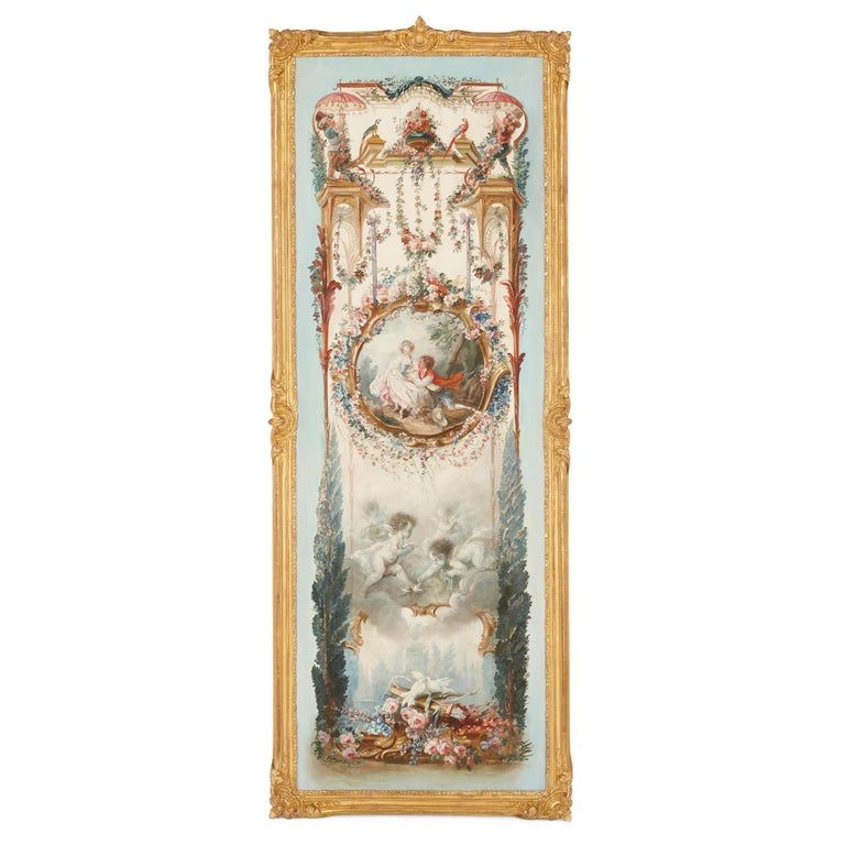 Five wall paintings in the manner of de Clermont and Fragonard - Painting by Unknown