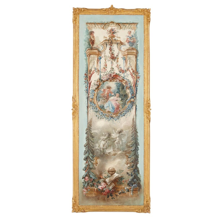 Five wall paintings in the manner of de Clermont and Fragonard - Beige Figurative Painting by Unknown