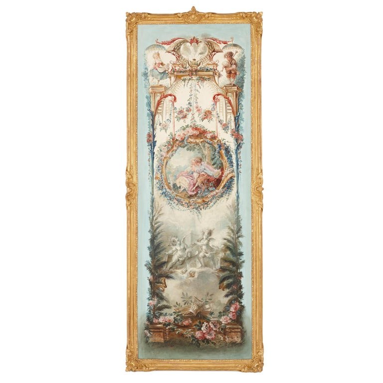 These beautiful wall paintings—five in all—are in the manner of the leading 18th Century Rococo artists Fragonard and de Clermont. Each oil on canvas painting is contained by a richly carved and warmly gilded wooden frame.  The paintings are