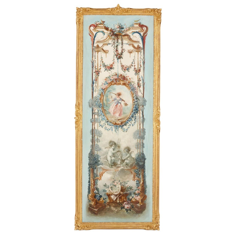 Five wall paintings in the manner of de Clermont and Fragonard For Sale 1