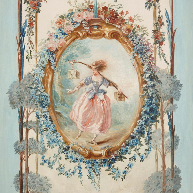 Five wall paintings in the manner of de Clermont and Fragonard For Sale 2