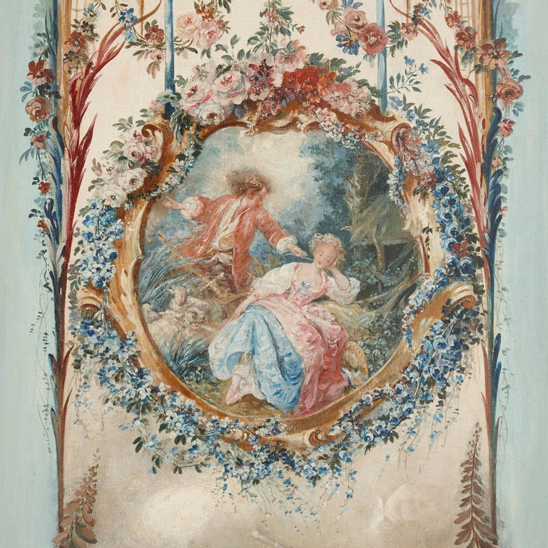 Five wall paintings in the manner of de Clermont and Fragonard For Sale 4