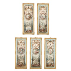 Five wall paintings in the manner of de Clermont and Fragonard