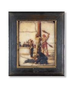 Flagellation of Christ Italian School of 17th  Oil on Marble Framed