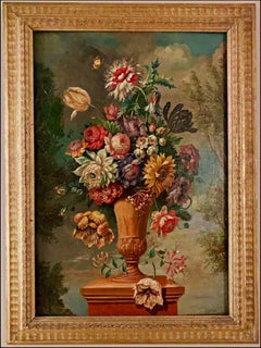 19th Century Flemish Floral Still Life, Oil on Canvas on Panel
