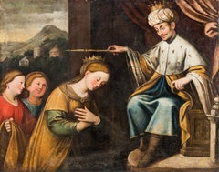 "Flemish master active in Italy - ""Ester and Ahasuerus"" - 17th Century, Oil paint"