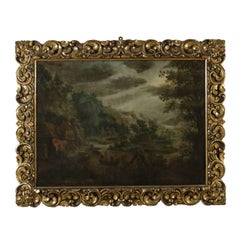 Flemish Painting Landscape with Figures Oil on Canvas 17th-18th Century