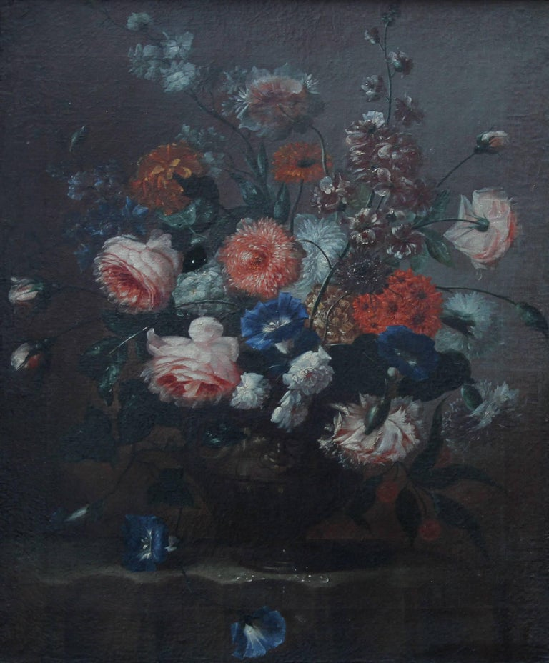 Floral Arrangement - Dutch Old Master art oil painting flowers rose rococo frame - Painting by Unknown