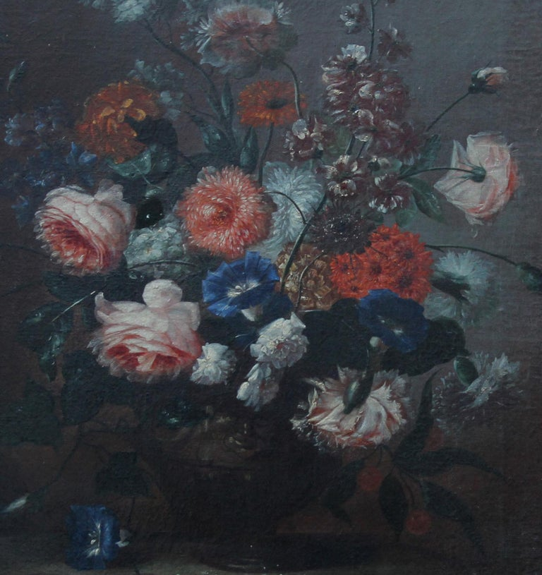 Floral Arrangement - Dutch Old Master art oil painting flowers rose rococo frame - Old Masters Painting by Unknown