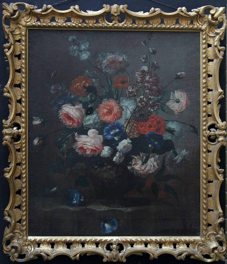 Unknown Still-Life Painting - Floral Arrangement - Dutch Old Master art oil painting flowers rose rococo frame