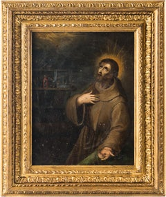 17th century Italian figurative painting St. Francis, Figure oil on copper Italy