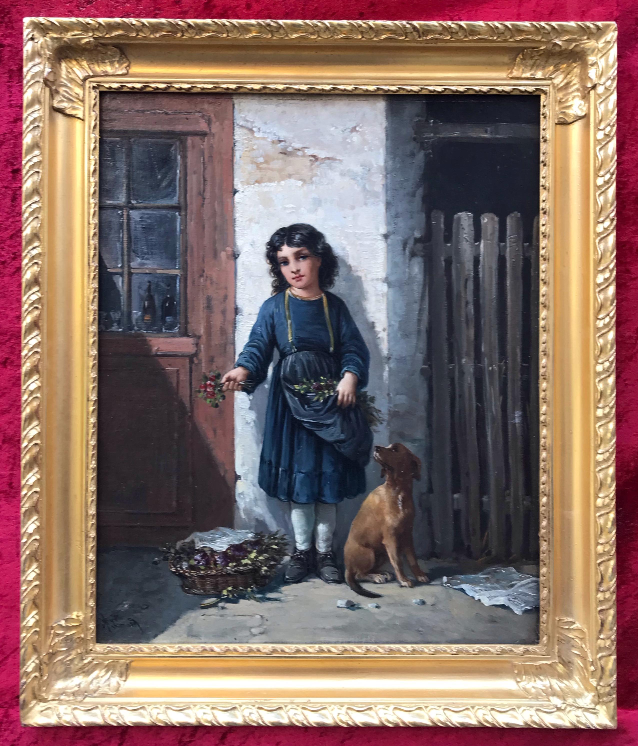 A. LEONARD - Flower Girl and her Dog