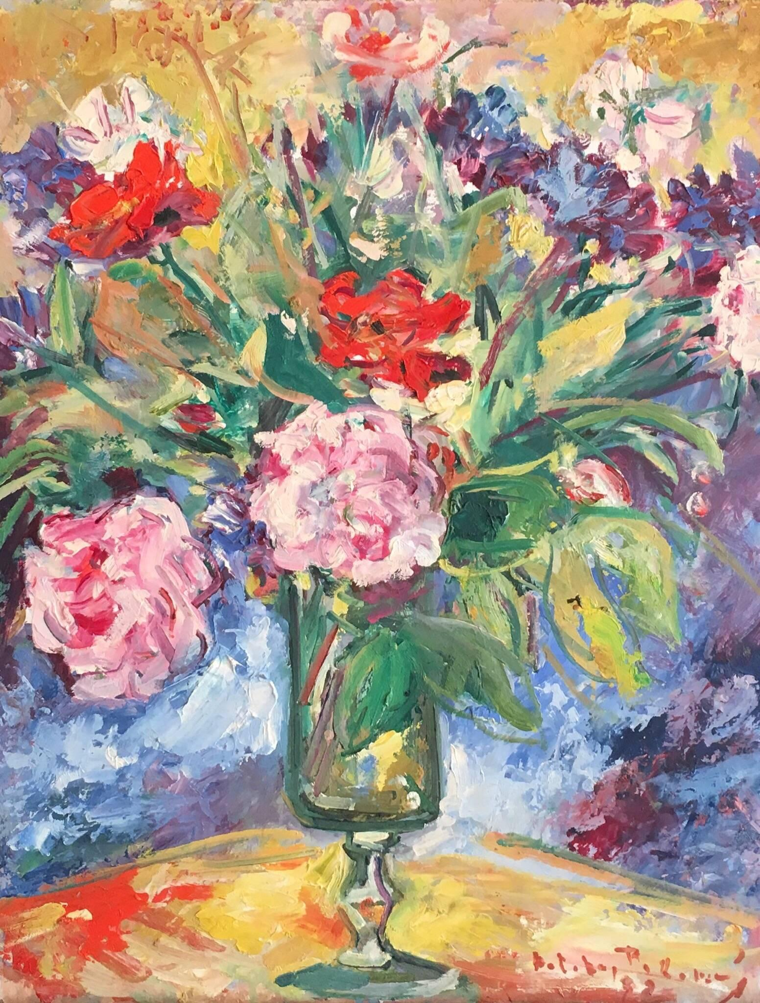 Flowers in a Vase, Signed French Mid-20th Century Oil Painting