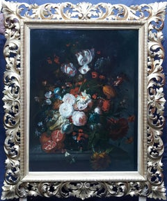 Flowers with Pomegranate - Dutch Golden Age art floral still life oil painting